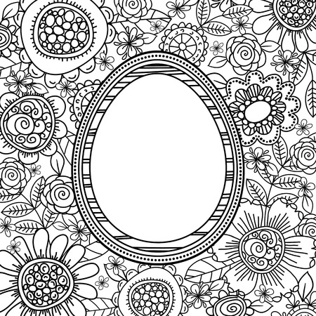 Vector easter eggs with floral pattern for coloring book. Hand-drawn decorative elements in vector. Black and white. Illustration
