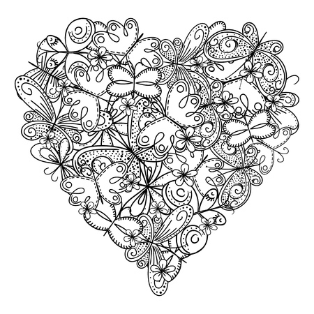 Big heart of butterflies for coloring book. Mothers day holidays design. Valentines day heart. Hand-drawn decorative elements.