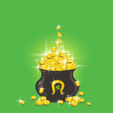 Pot of gold. Patricks Day greetings card. Patrick's Day design with pot with golden coins. Can be used for holidays cards, web, scrap booking, vector illustration.