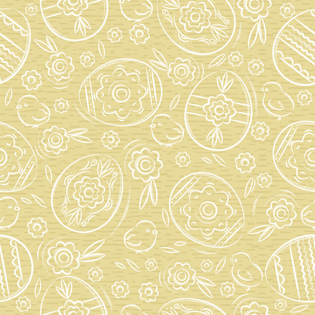 Easter eggs, flowers, leafs, chick. Beige Seamless pattern. Easter design. Can be used for fabric, wallpaper, pattern fills, web page background, greeting card, scrap booking, vector illustration.