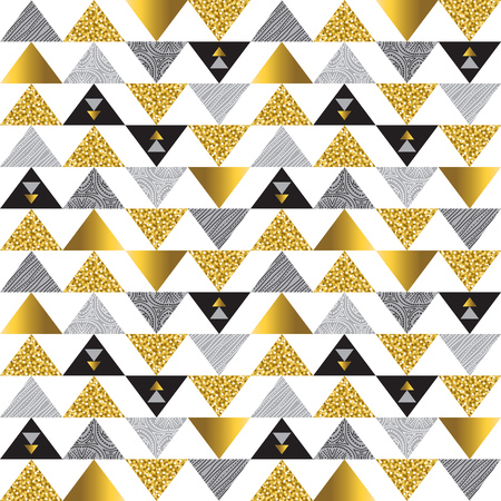 Patrón sin fisuras con triángulos brillantes dorados y negros. Patrón repetible geométrico dorado. Se puede utilizar para tela, reserva de chatarra, papel tapiz, fondo web, invitación, papel, vector