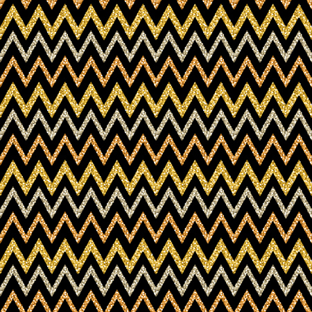 Golden and silver glittering zigzag pattern on black background. Gold Seamless pattern. Repeatable 