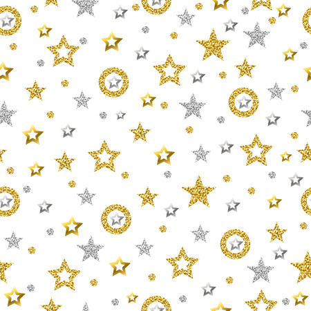 Patrón sin fisuras con estrellas brillantes doradas y plateadas. Patrón sin costuras de oro. Fondo repetible. Se puede utilizar para tela, reserva de chatarra, papel tapiz, fondo web, invitación, vector Ilustración de vector