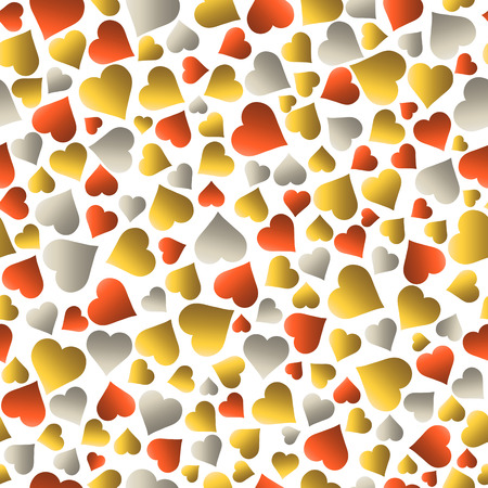 Seamless valentines pattern with golden and red hearts. Gold Seamless pattern. Repeatable valentines day design. Can be used for fabric, scrap booking, wallpaper, web background, invitation, vector Ilustração