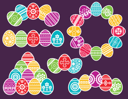 Combinations of Color easter eggs isolated on purple background. Holiday Easter Eggs decorated with flowers and leafs. Print design, label, sticker, scrap booking, stamp, vector illustration Çizim