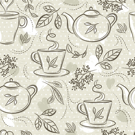 Beige seamless patterns with tea set, cup, tea pod, leafs, flower and text. Background with tea set. Ideal for printing onto fabric and paper or scrap booking. Çizim