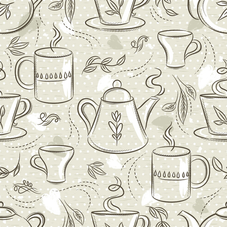 Beige seamless patterns with tea set, cup, tea pod, leafs, flower and text. Background with coffee set. Ideal for printing onto fabric and paper or scrap booking.