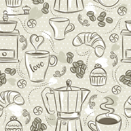 Beige seamless patterns with coffee set, coffee maker, muffin, cup, flower. Beige Background with coffee set. Ideal for printing onto fabric and paper or scrap booking. Vektoros illusztráció