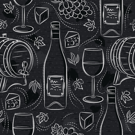 Seamless patterns with white wine set, cask, wineglass, barrel, grape and cheese on black chalkboard. Ideal for printing onto fabric and paper or scrap booking. Çizim