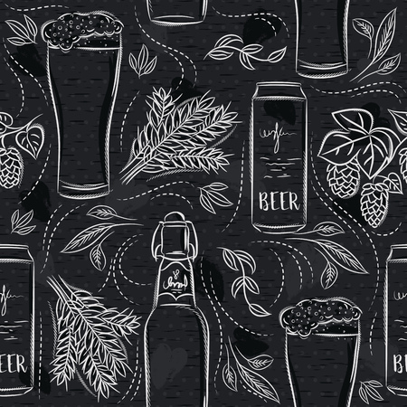 Seamless patterns with set of beer bottle, mug, barley and hop on black chalkboard. Ideal for printing onto fabric and paper or scrap booking.