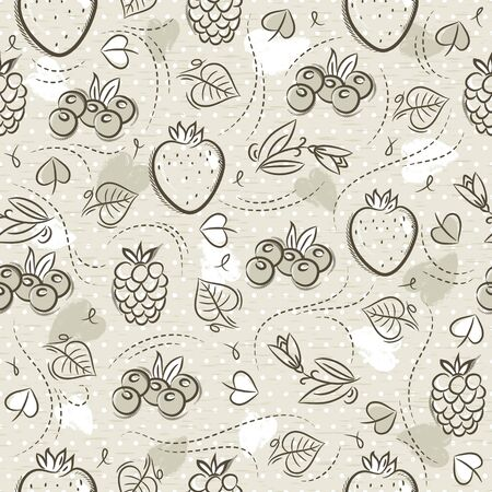 Beige Seamless Patterns with strawberry, blackberry, blueberry and raspberry on grunge background. Ideal for printing onto fabric and paper or scrap booking, vector