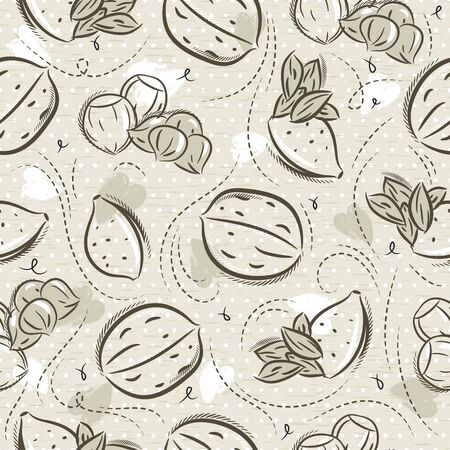 Beige Seamless Patterns with almond, hazelnut and walnut on grunge background. Ideal for printing onto fabric and paper or scrap booking, vector Çizim