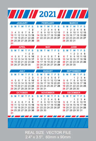 Pocket Calendar 2021, vector, start on Sunday