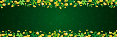 Green Patricks Day greeting banner with frame of golden coins and clover. Patrick's Day holiday design. Horizontal background, headers, posters, cards, website. Vector illustration