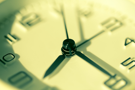 Closeup shot of clock. Vintage style of Time concept. Imagens