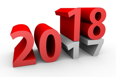 Three-dimensional new year 2018 concept isolated on white background.