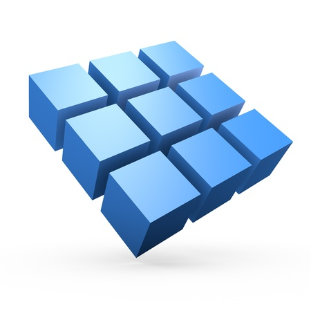 Composition of 3d cubes isolated on white background.