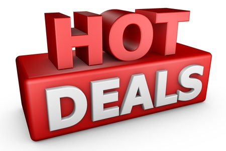 Hot Deals 3D text isolated on white background.