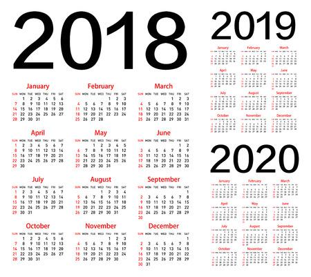 Vector calendar for 2018 2019 2020 year. Ilustração
