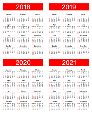 calendar for 2018, 2019, 2020 and 2021 year. Illustration