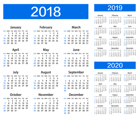 Calendar for 2018, 2019 and 2020 year.
