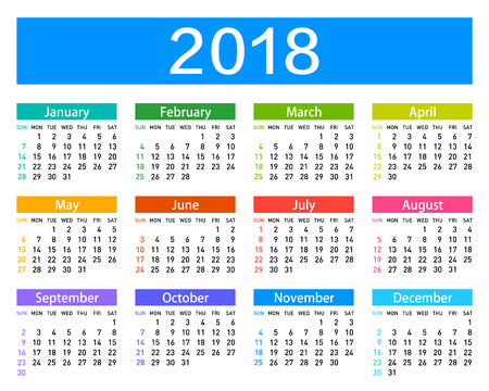 The calendar for 2018 year.