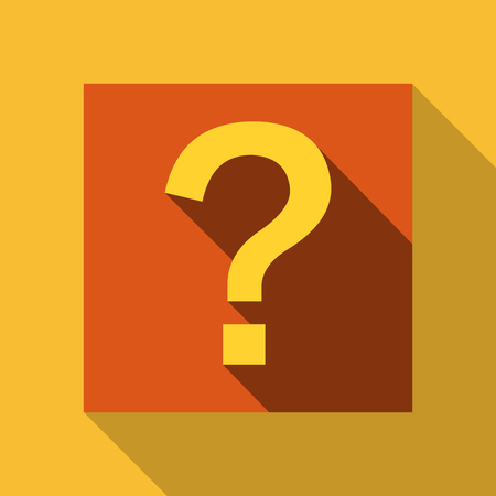 Question mark icon with orange background.