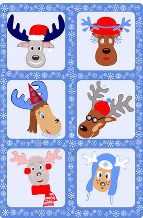 fur cap: Christmas with fun reindeer