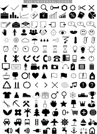 multimedia icons: 150 universal icons for business and multimedia Illustration