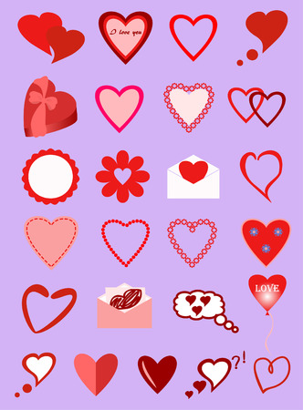 sympathetic: images of different hearts with a Declaration of love