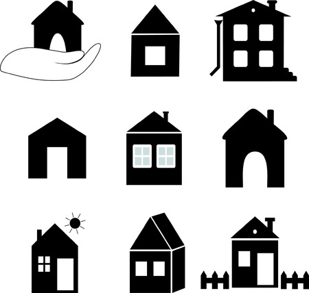 storey: images of different houses and buildings in black and white Illustration