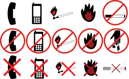 crossed out: icons with prohibitions action