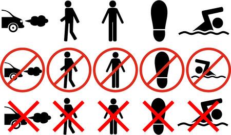 prohibition: signes et symboles interdiction Illustration