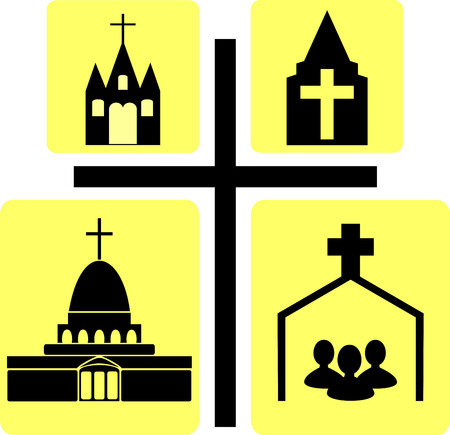 sinner: image Church building on the background of the cross Illustration