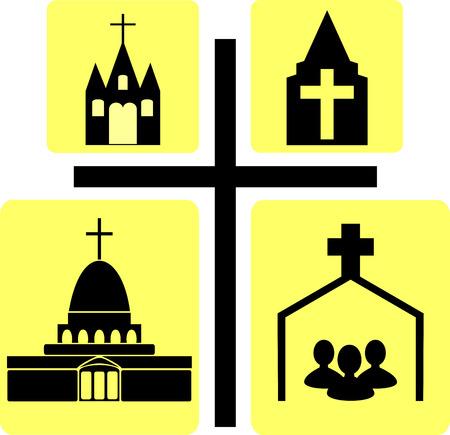 arrepentimiento: imagen Iglesia edificio en el fondo de la cruz