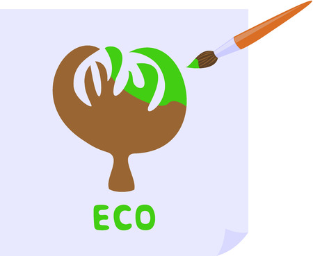earthing: the brush paints the tree in green Illustration