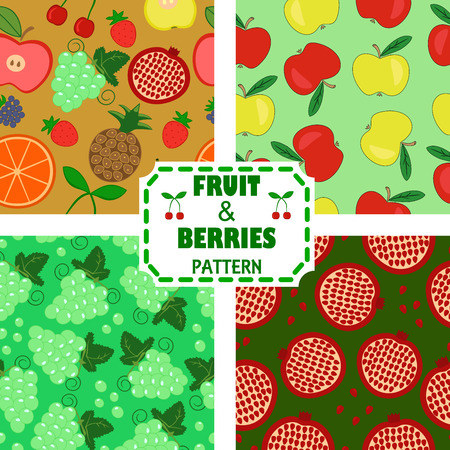 fruitful: four seamless pattern with fruits and berries Illustration