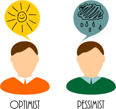 optimist: thoughts of an optimist and pessimist Illustration