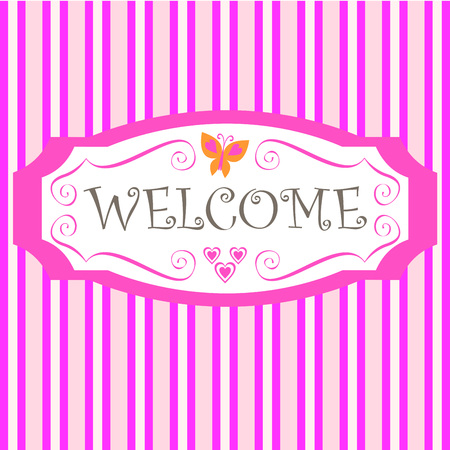 pink stripes: pink stripes background and welcome in a frame Illustration