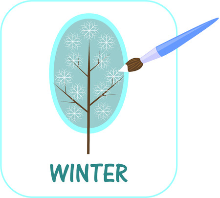 frostily: brush to paint in white snowflake on the tree Illustration