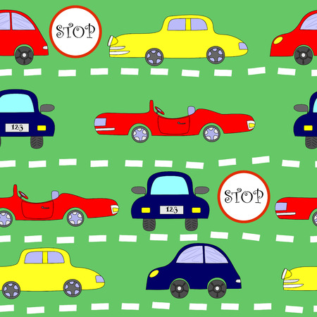 classic cars: seamless pattern with moving rows of classic cars Illustration