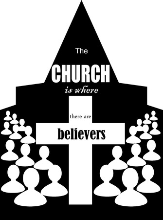 church service: the image of the Church building and the words the Church is the believers