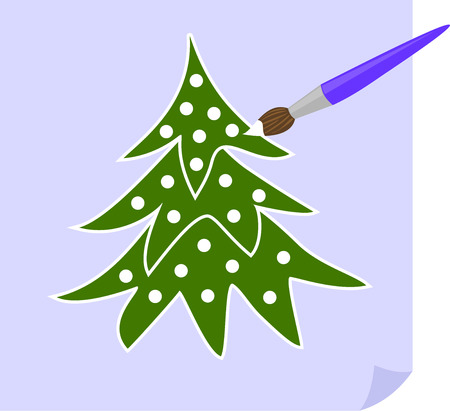 the brush paints the Christmas tree white