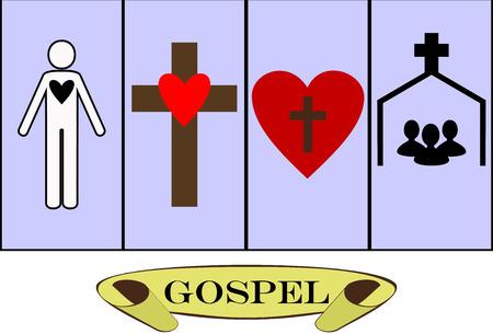 cristianismo: los fundamentos del cristianismo y la Biblia Vectores