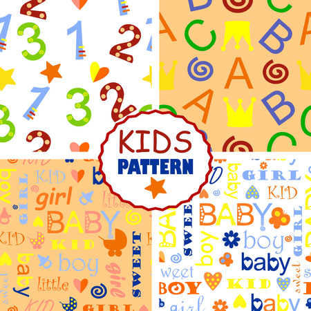 kiddie: four seamless baby patterns with letters and numbers Illustration