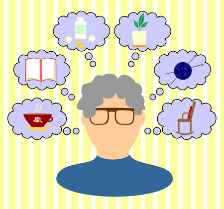 interests: thoughts and interests of an elderly woman Illustration