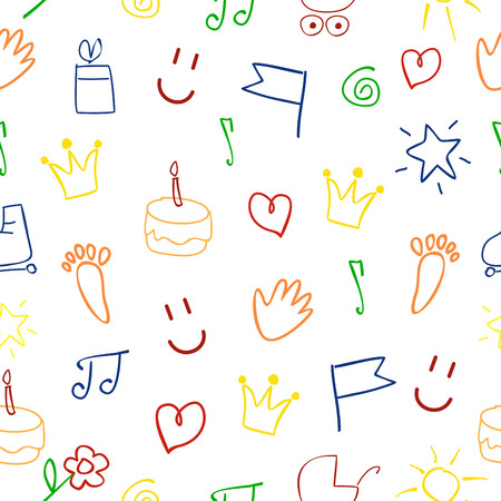 kiddie: seamless baby pattern with pictures on a white background Illustration