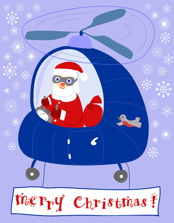 steers: Santa Claus steers in a helicopter, saying merry Christmas