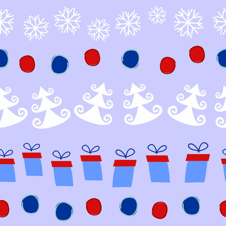 ball lump: linear seamless Christmas pattern with Christmas trees, snowflakes, gifts