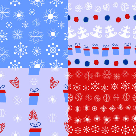 wintery: 4 types of Christmas and winter background